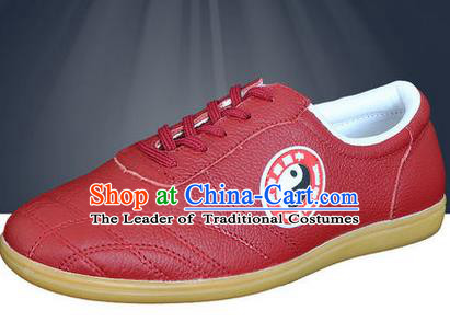 Traditional Chinese Top Flax Kung Fu Shoes Martial Arts Kung Fu Training Red Shoe, Tang Suit Gongfu Shaolin Wushu Tai Chi Taiji Teacher Shoes for Women