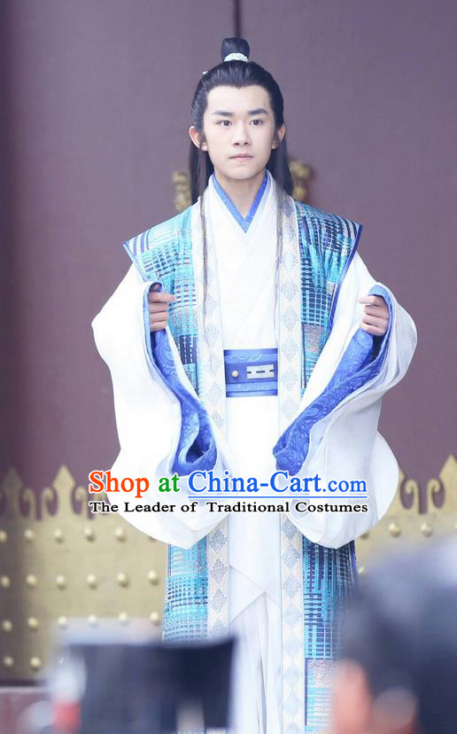 Traditional Ancient Chinese Nobility Childe Costume, Elegant Hanfu Male Lordling Dress, China Warring States Period Imperial Prince Embroidered Clothing for Men