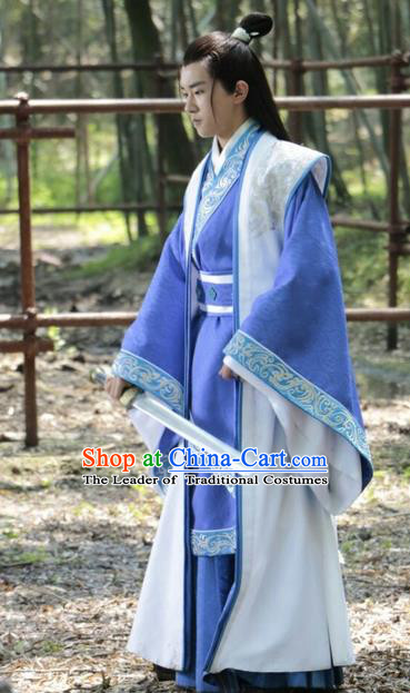 Traditional Ancient Chinese Nobility Childe Costume, Elegant Hanfu Male Lordling Dress Warring States Literati Clothing, China Warring States Period Qu Yuan Imperial Prince Embroidered Clothing for Men