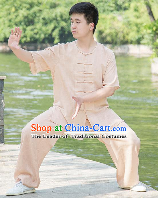 Traditional Chinese Top Linen Kung Fu Costume Martial Arts Kung Fu Training Plated Buttons Short Sleeve Wheat Uniform, Tang Suit Gongfu Shaolin Wushu Clothing, Tai Chi Taiji Teacher Suits Uniforms for Men