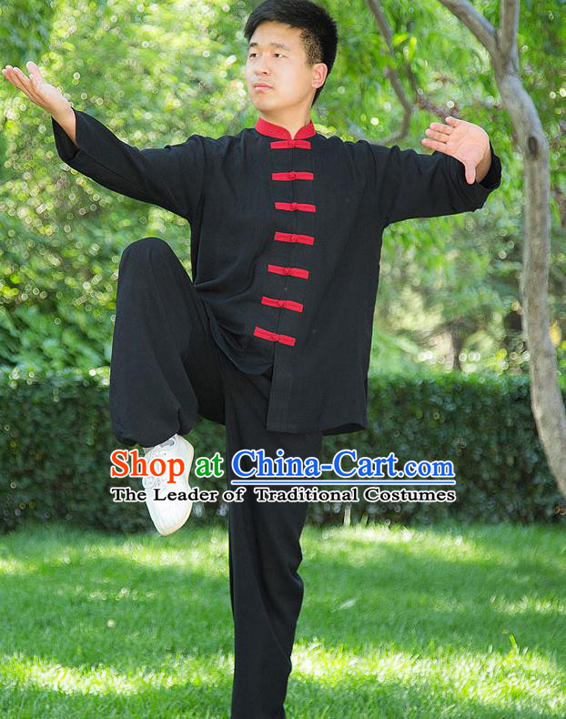 Traditional Chinese Top Linen Kung Fu Costume Martial Arts Kung Fu Training Red Plated Buttons Black Uniform, Tang Suit Gongfu Shaolin Wushu Clothing, Tai Chi Taiji Teacher Suits Uniforms for Men