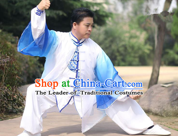 Traditional Chinese Top Kung Fu Costume Martial Arts Kung Fu Training Blue Chiffon Marble, Tang Suit Gongfu Shaolin Wushu Clothing, Tai Chi Taiji Teacher Cardigan for Men