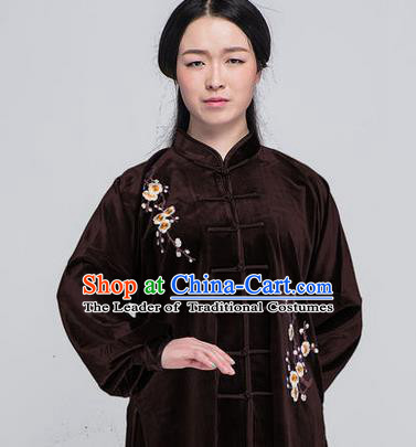 Traditional Chinese Top South Korea Velvet Kung Fu Costume Martial Arts Kung Fu Training Brown Embroidered Uniform, Tang Suit Gongfu Shaolin Wushu Clothing, Tai Chi Taiji Teacher Suits Uniforms for Women
