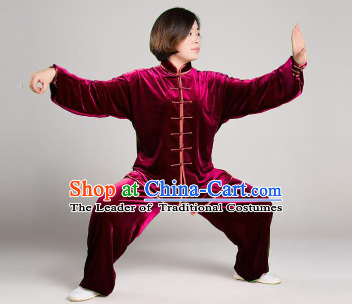 Traditional Chinese Top Gold Velvet Kung Fu Costume Martial Arts Kung Fu Training Plated Buttons Red Uniform, Tang Suit Gongfu Shaolin Wushu Clothing, Tai Chi Taiji Teacher Suits Uniforms for Women