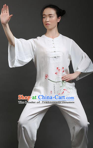 Traditional Chinese Top Gastrodia Kung Fu Costume Martial Arts Kung Fu Training Lotus Leaf Sleeves Plated Buttons Hand Painted Lotus Uniform, Tang Suit Gongfu Shaolin Wushu Clothing, Tai Chi Taiji Teacher Suits Uniforms for Women