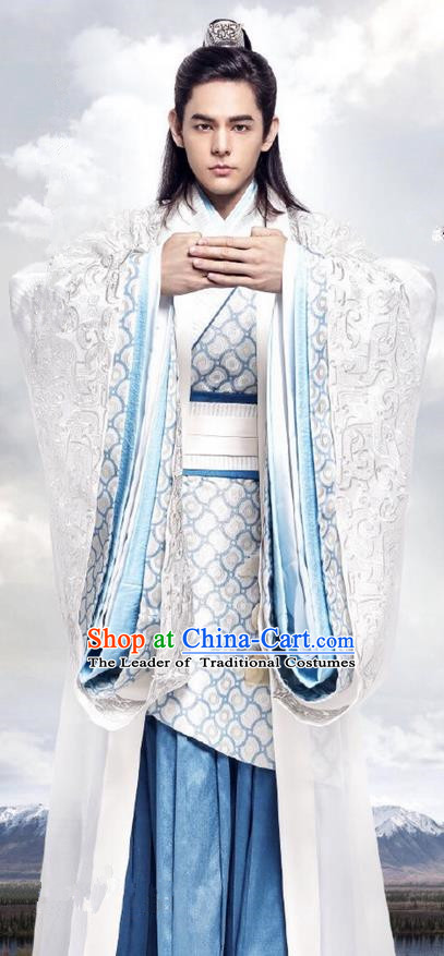 Traditional Ancient Chinese Nobility Childe Costume, Elegant Hanfu Male Lordling Dress, Warring States Swordsman Clothing, China Warring States Prince Embroidered Clothing for Men