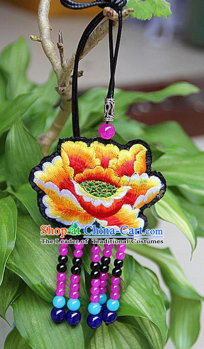 Traditional Chinese Miao Nationality Crafts, Hmong Handmade Double Side Yellow Embroidery Tassel Pendant, Miao Ethnic Minority Necklace Accessories Sweater Chain Pendant for Women
