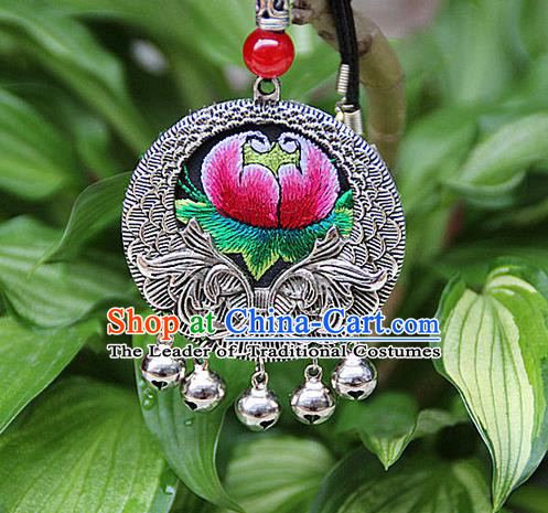 Traditional Chinese Miao Nationality Crafts, Hmong Handmade Miao Silver Embroidery Flowers Pendant, Miao Ethnic Minority Black Rope Necklace Accessories Pendant for Women
