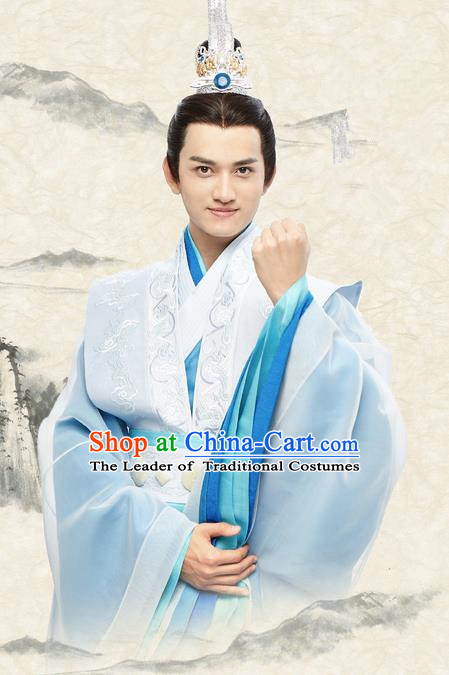 Traditional Ancient Chinese Nobility Childe Costume, Elegant Hanfu Male Lordling Dress, Warring States Literati Swordsman Clothing, China Warring States Period Qu Yuan Embroidered Clothing for Men