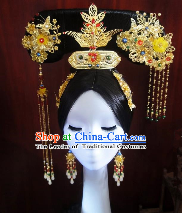 Traditional Handmade Chinese Ancient Classical Qing Dynasty Hat Accessories Bride Wedding Barrettes Imperial Emperess Phoenix Coronet, Hair Sticks Hair Jewellery, Hair Fascinators Hairpins Complete Set for Women