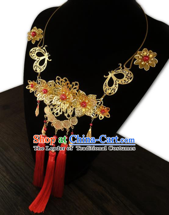 Traditional Handmade Chinese Ancient Classical Jewellery Accessories Necklace, Blueing Tassel Wedding Necklace for Women
