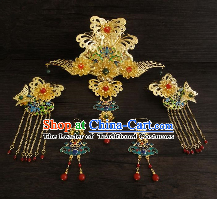 Traditional Handmade Chinese Ancient Classical Hair Accessories Barrettes Hairpin, Blueing Hair Sticks Hair Jewellery, Hair Fascinators Hairpins Complete Set for Women