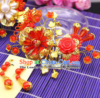 Traditional Handmade Chinese Ancient Classical Hair Accessories Barrettes Hairpin, Bride Wedding Hair Sticks and Earrings, Hair Fascinators Hairpins for Women