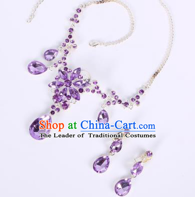 Traditional Handmade Chinese Ancient Classical Hair Accessories Frontlet, Bride Wedding Hair Sticks and Earrings, Chinese Crystal Necklace and Earrings Complete Set for Women