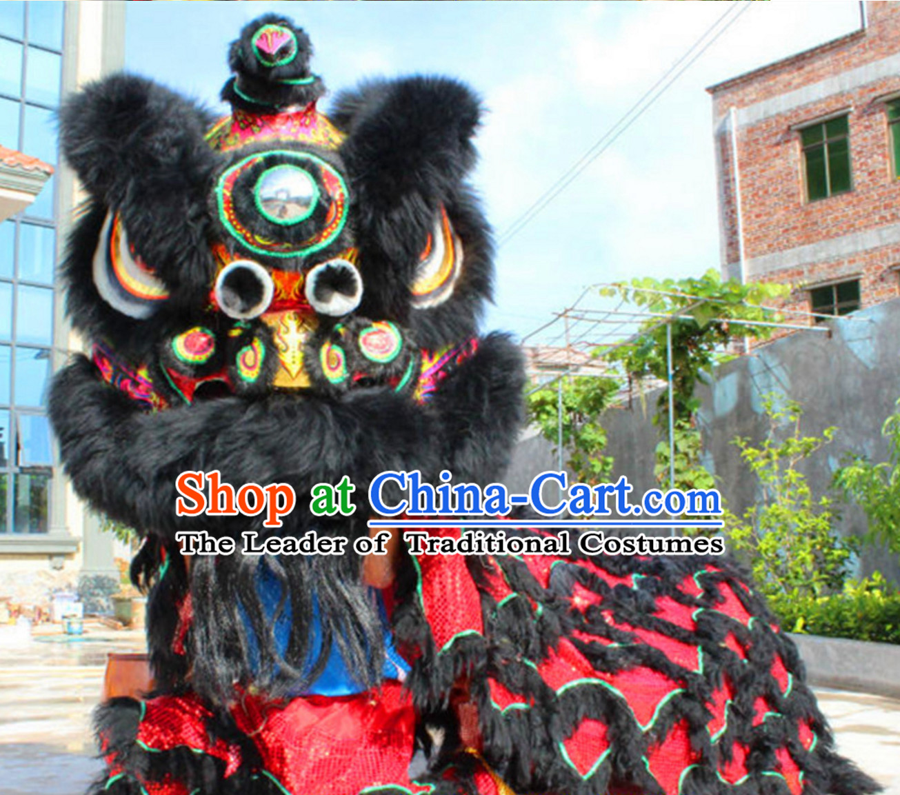 Folk Art Black Red Chinese Southern Lion Dance Costumes Complete Set