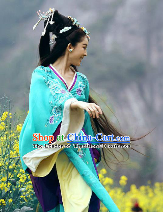Traditional Ancient Chinese Imperial Emperess Costume, Chinese Han Dynasty Young Lady Dress, Cosplay Chinese Princess Embroidered Clothing Blue Hanfu Costume for Women