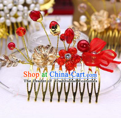 Traditional Handmade Chinese Ancient Classical Hair Accessories Red Flowers Hairpin, Hair Claws Hair Comb for Women