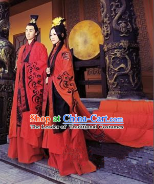 Traditional Ancient Chinese Imperial Emperess and Emperor Costume Complete Set, Chinese Han Dynasty Wedding Dress, Cosplay Chinese Imperial Embroidered Tailing Clothing for Women for Men