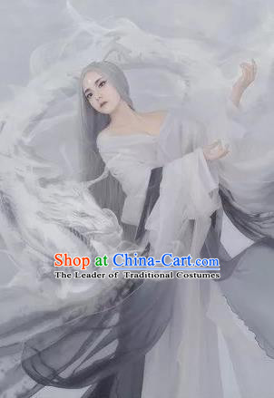 Traditional Ancient Chinese Dunhuang Flying Fairy Costume, Chinese Han Dynasty Long Ribbon Dance Dress, Cosplay Chinese Peri Imperial Empress Tailing Black Embroidered Clothing for Women