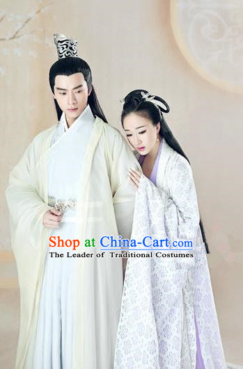 Traditional Ancient Chinese Lovers Costume, Chinese Han Dynasty Dress, Cosplay Swordsman Knight Costume Imperial Princess Hanfu Clothing for Women for Men
