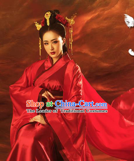 Traditional Ancient Chinese Imperial Emperess Wedding Costume, Chinese Han Dynasty Wedding Dress, Cosplay Chinese Emperess Embroidered Clothing Phoenix Hanfu for Women