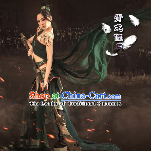 Traditional Ancient Chinese Swordswoman Costume, Chinese Tang Dynasty Fairy Dress, Cosplay Game Character Chinese Knight-Errant Clothing for Women