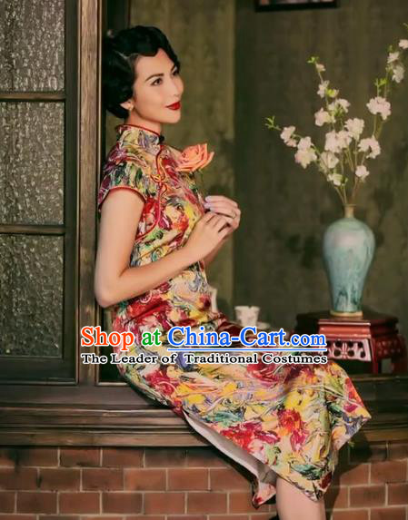 Traditional Chinese Female Costumes Chinese Classic Clothes Chinese Silk Shivering Cheongsam Tang Suits Dress for Women