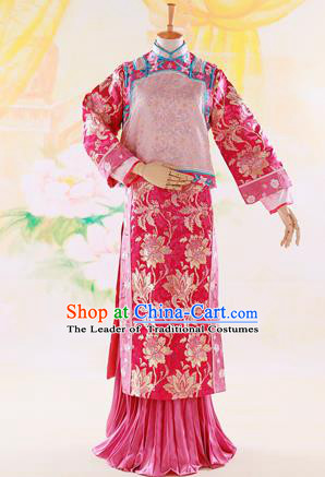Traditional Ancient Chinese Imperial Consort Costume, Chinese Qing Dynasty Manchu Lady Dress, Cosplay Chinese Mandchous Imperial Concubine Purple Embroidered Clothing for Women