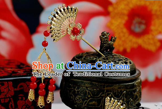 Chinese Wedding Jewelry Accessories, Traditional Xiuhe Suits Wedding Bride Headwear, Wedding Tiaras, Ancient Chinese Sector Harpins for Women