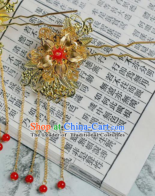 Chinese Wedding Jewelry Accessories, Traditional Xiuhe Suits Wedding Bride Butterfly Headwear, Wedding Tiaras, Ancient Chinese Harpins for Women