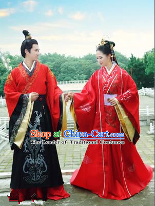 Traditional Ancient Chinese Imperial Emperess and Emperor Costume Complete Set, Chinese Han Dynasty Emperess Wedding Red Dress, Chinese Emperess Emperor Embroidered Phoenix and Dragon Trailing Clothing for Women for Men