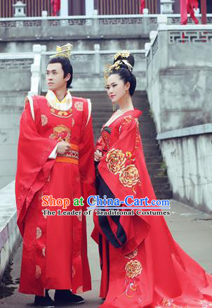 Traditional Ancient Chinese Imperial Emperess and Emperor Costume Complete Set, Chinese Tang Dynasty Emperess Wedding Red Dress, Chinese Emperess Emperor Embroidered Phoenix and Dragon Trailing Clothing for Women for Men