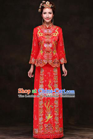 Traditional Ancient Chinese Costume Xiuhe Suits, Chinese Style Wedding Red Dress, Ancient Embroidered Dragon and Phoenix Flown Bride Toast Cheongsam for Women