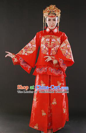 Traditional Ancient Chinese Costume Xiu he Suits, Chinese Style Wedding Red Dress, Embroidered Dragon and Phoenix Flown Bride Toast Cheongsam for Women