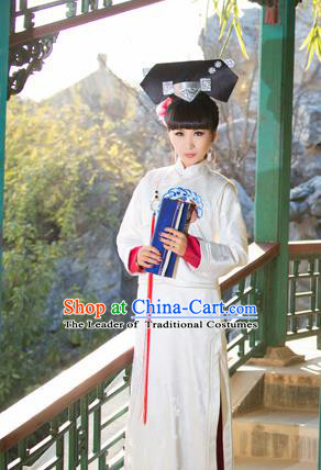 Traditional Ancient Chinese Imperial Concubine Costume, Chinese Qing Dynasty Manchu Palace Lady Dress, Cosplay Chinese Manchu Minority Princess Clothing for Women
