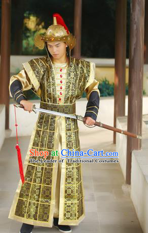 Traditional Ancient Chinese Imperial Soldier Costume, Chinese Tang Dynasty Imperial Bodyguard Uniforms, Cosplay Chinese Minister General Armour Clothing Complete Set for Men