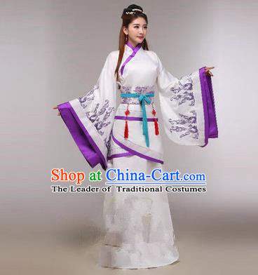 Traditional Ancient Chinese Imperial Emperess Costume, Chinese Han Dynasty Princess Dress, Cosplay Chinese Peri Concubine Embroidered Violet Hanfu Clothing for Women