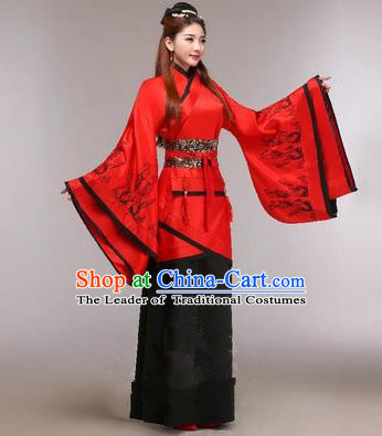 Traditional Ancient Chinese Imperial Emperess Costume, Chinese Han Dynasty Princess Dress, Cosplay Chinese Peri Concubine Embroidered Red Hanfu Clothing for Women
