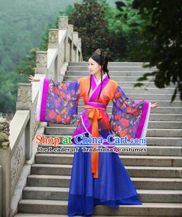 Traditional Ancient Chinese Imperial Emperess Costume, Chinese Han Dynasty Princess Young Lady Chiffon Dress, Cosplay Chinese Peri Concubine Hanfu Clothing for Women