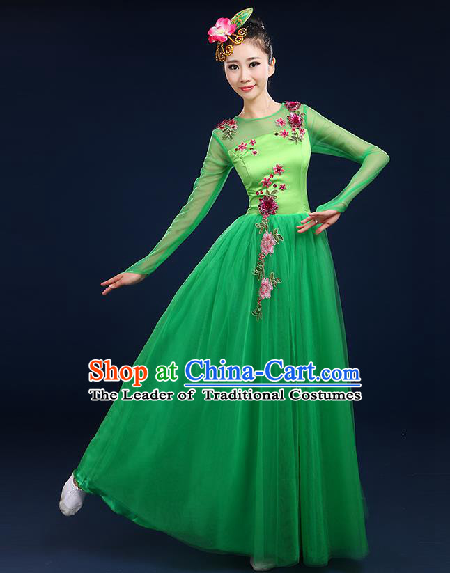 Traditional Chinese Modern Dancing Compere Costume, Women Opening Classic Dance Chorus Singing Group Bubble Uniforms, Modern Dance Classic Dance Big Swing Green Long Dress for Women