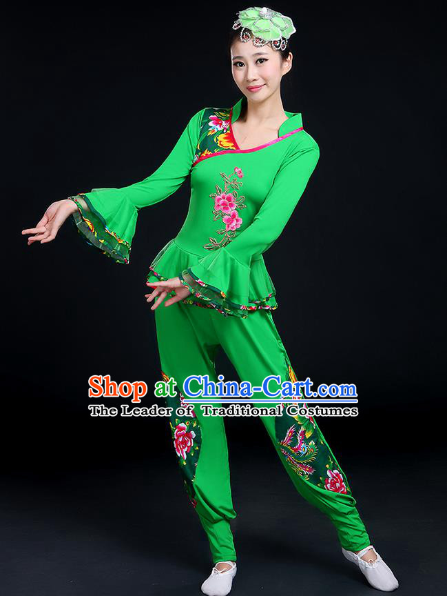 Traditional Chinese Yangge Fan Dancing Costume, Folk Dance Yangko Mandarin Sleeve Embroidery Peony Blouse and Pants Uniforms, Classic Dance Elegant Dress Drum Dance Green Clothing for Women