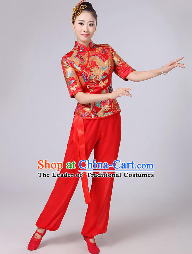 Traditional Chinese Yangge Fan Dancing Costume, Folk Dance Yangko Mandarin Collar Embroidered Dragon Blouse and Pants Uniforms, Classic Dance Elegant Dress Drum Dance Red Clothing for Women