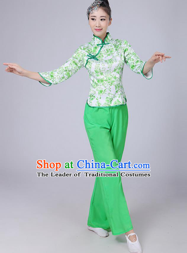 Traditional Chinese Yangge Fan Dancing Costume, Folk Dance Yangko Mandarin Collar Blue and White Porcelain Blouse and Pants Uniforms, Classic Dance Elegant Dress Drum Dance Green Clothing for Women