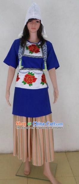 Traditional Chinese Yangge Fan Dancing Costume, Folk Dance Yangko Embroidered Peony Uniforms, Classic Dance Elegant Big Swing Dress Drum Dance Clothing for Women