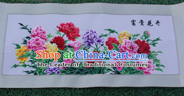 Traditional Chinese Miao Nationality Minority Crafts Hmong Xiangxi Embroidery Decorative Paintings, Embroidery Peony Flowers Meaning Riches and Honour Scroll Painting for Friends