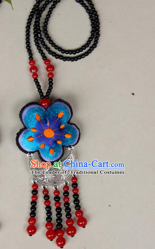 Traditional Chinese Miao Nationality Crafts Jewelry Accessory, Hmong Handmade Black Beads Tassel Double Side Embroidery Flowers Pendant, Miao Ethnic Minority Necklace Accessories Sweater Chain Pendant for Women