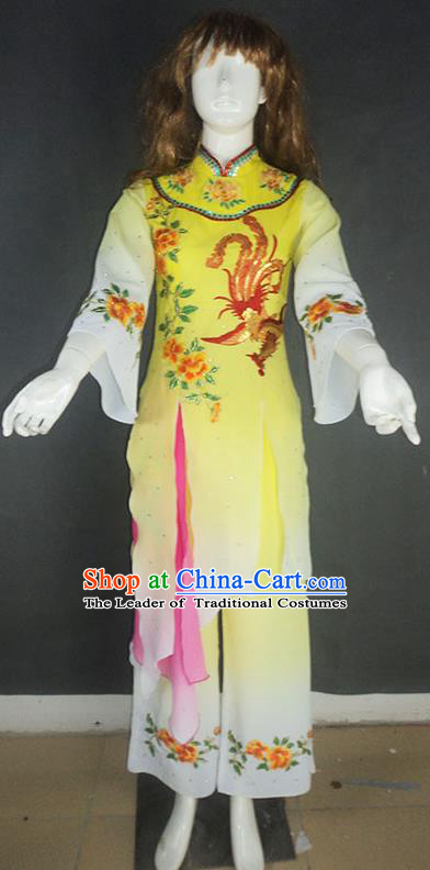 Traditional Chinese Ancient Yangge Fan Dancing Costume, Folk Dance Water Sleeve Uniforms, Classic Tang Dynasty Flying Dance Elegant Fairy Dress Drum Palace Dance Clothing for Women