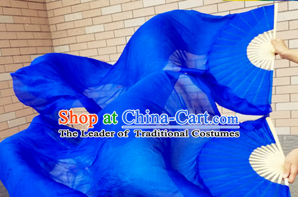 Blue Color Top Pure Silk 1.5 Meter Long Silk Dance Fan Streamer
