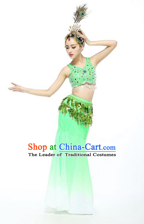 Traditional Chinese Dai Nationality Peacock Dancing Costume, Folk Dance Ethnic Fishtail Paillette Dress Palace Princess Uniform, Chinese Minority Nationality Dancing Green Clothing for Women
