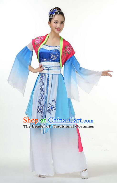 Traditional Chinese Yangge Fan Dancing Costume, Folk Dance Yangko Mandarin Sleeve Dress Blue and White Porcelain Uniforms, Classic Umbrella Dance Elegant Dress Drum Dance Clothing for Women